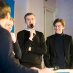 William Oderstad, Linus Caro och Zaccarias Gradin i UF-företaget TopGrip berättade om sitt gymhandtag i silikon.