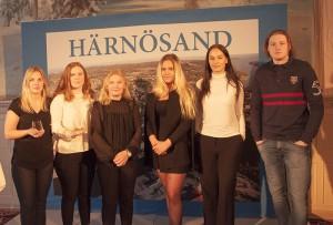 Tre UF-företag fanns på plats under aprilfrukosten. Julia Sjödin, Lisa Sjödin och Lina Modig från Hernö Glas, Cornelia Lång och Madelene Lundvall från CyberUp och Niklas Wahlgren från Tracker.