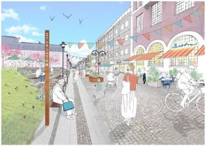 Övre delen av Storgatan har potential att bli en ny plats för möten och event. Illustration: ElinderSten Arkitekter